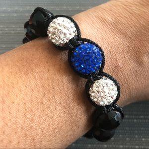 Jewelry - Blue & White Rhinestone Shamballa  Bracelet